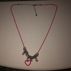 Heart pink charm necklace